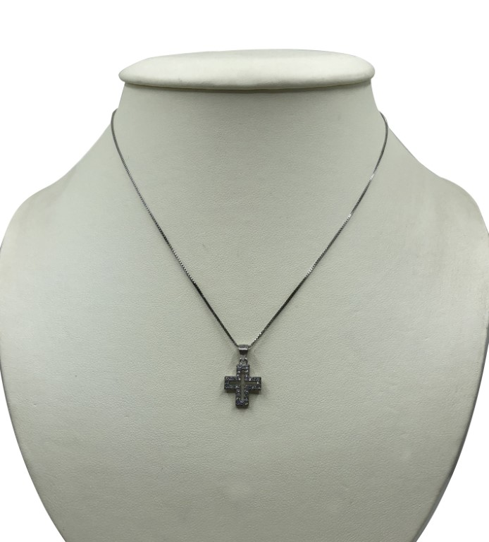 white gold neckalce with a cross - Silver - SPECIAL OFFER