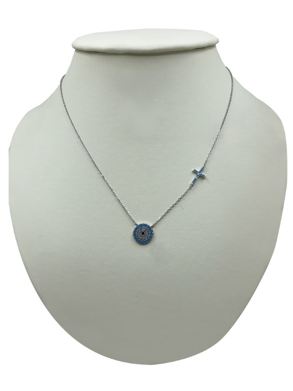 white gold necklace with an evil eye - Silver - SPECIAL OFFER