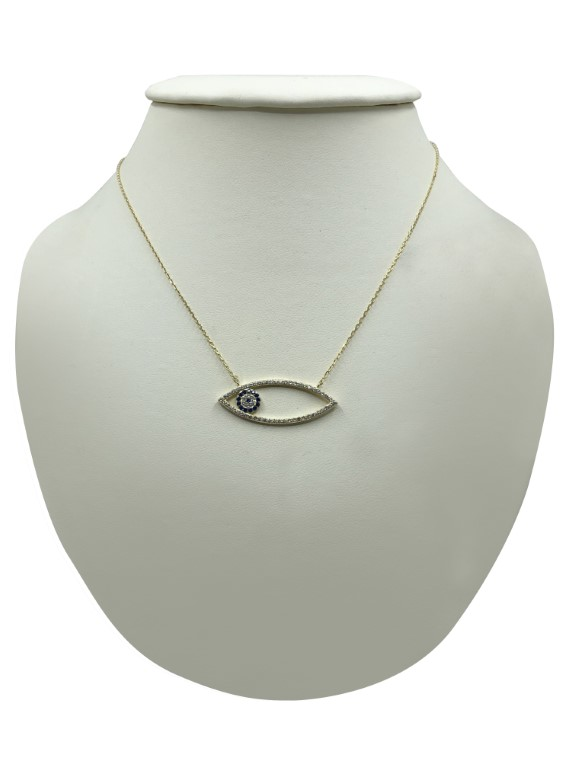 Yellow gold evil eye necklace - Silver - SPECIAL OFFER