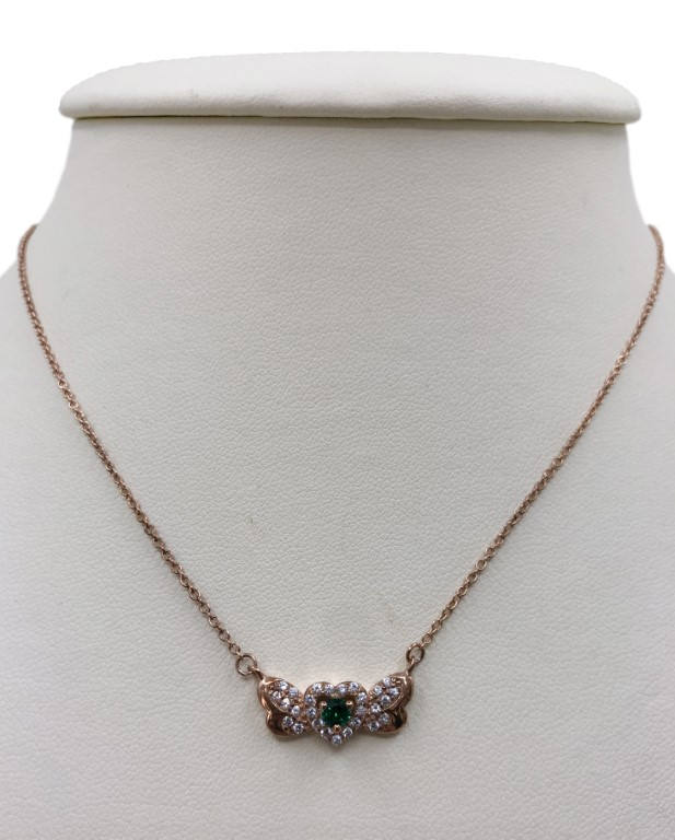rose gold necklace with green heart - Silver - SPECIAL OFFER