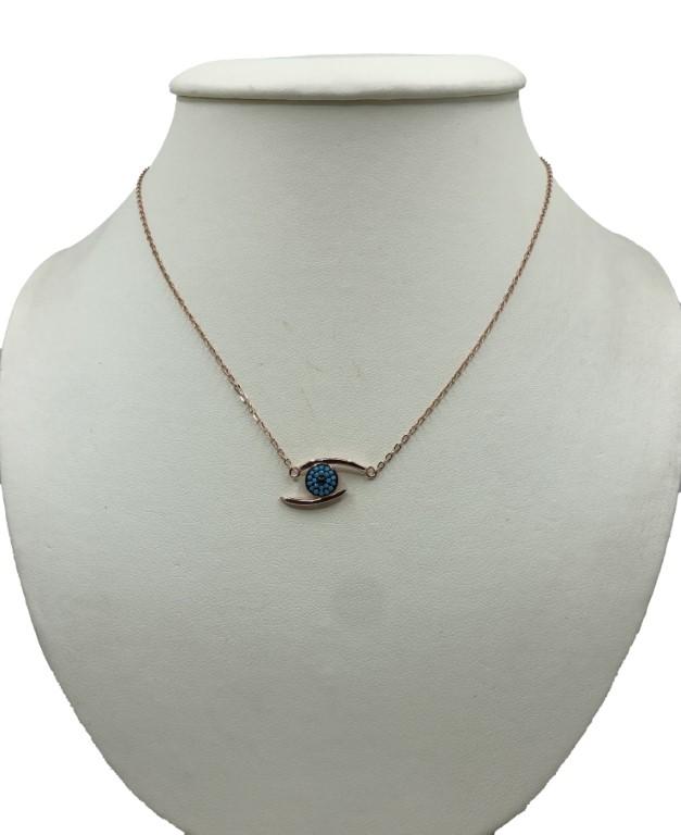 rose gold evil eye necklace - Silver - SPECIAL OFFER