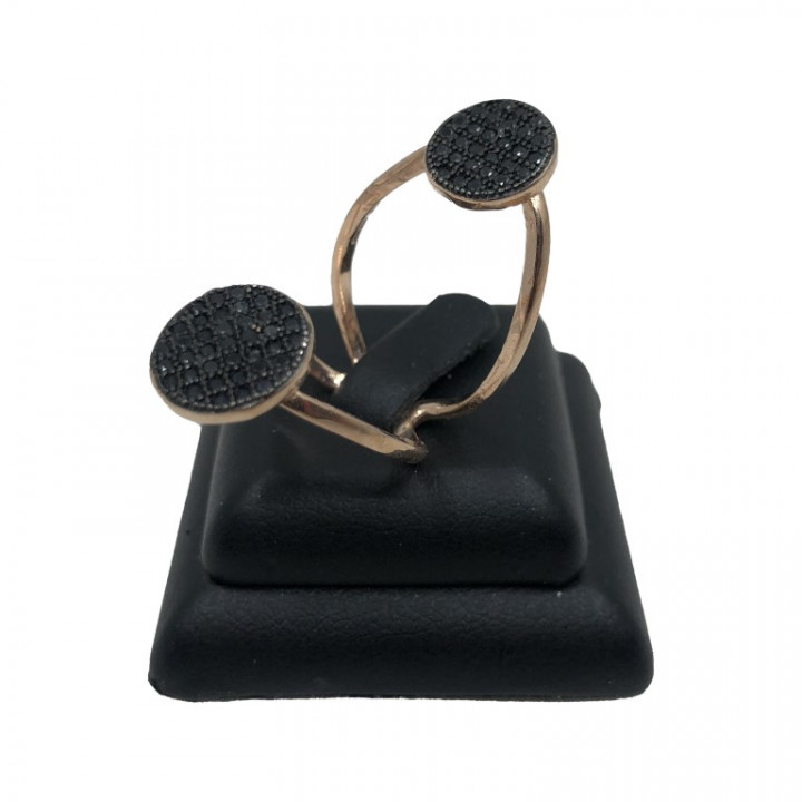 rose gold assymetric ring with black rhinestones - Silver - SPECIAL OFFER