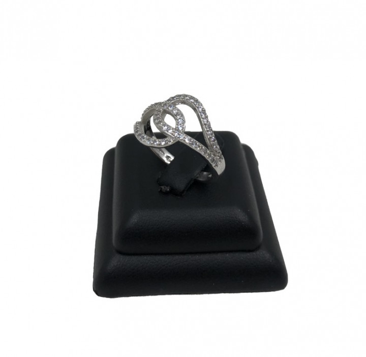 white gold assymetric ring with rhinestones - Silver - SPECIAL OFFER