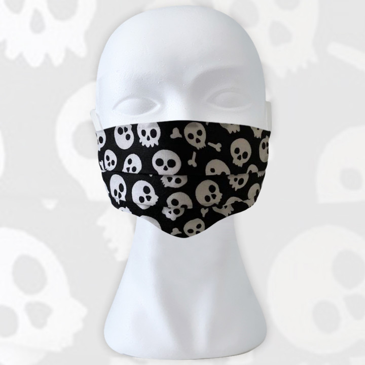 Cloth Face Masks For Adults - 17,5 x 10cm and expandable - SKULLS MINI