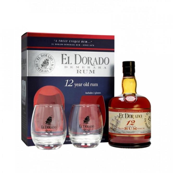 EL DORADO RUM 15 YEARS + 2 GLASSES 70CL