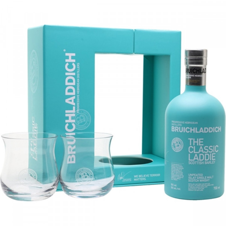 BRUICHLADDICH THE CLASSIC LADDIE SINGLE MALT WHISKY GIFT 2 GLASSES 70CL