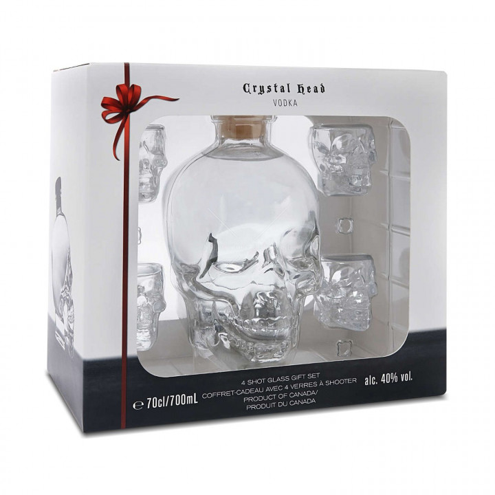 CRYSTAL HEAD VODKA + 4 SHOT GLASS GIFT SET 70CL