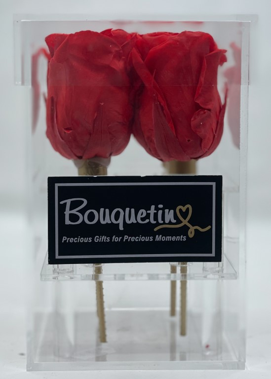 4 Eternity, Forever, Preserved Roses in Acrylic Box - Red