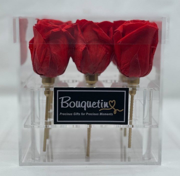 9 Eternity, Forever, Preserved Roses in Acrylic Box - Red