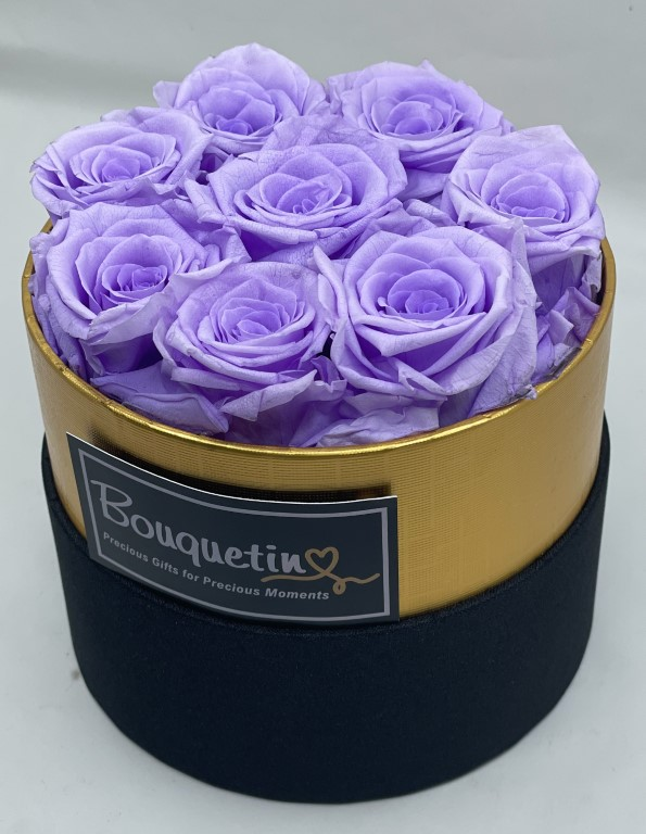 7 Eternity Preserved Forever Roses in a Luxury box - Lavender