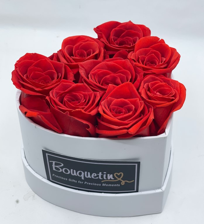 8 Eternity Preserved Forever Roses in a Heart box - Red