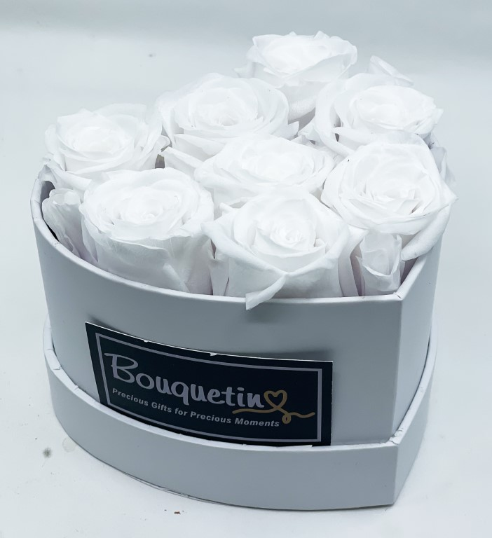 8 Eternity Preserved Forever Roses in a Heart box - White