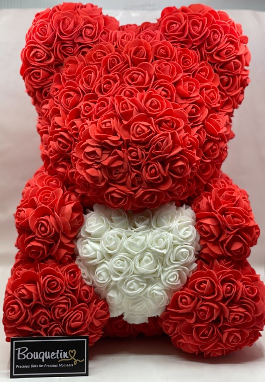 Rose Bear Big 42cm With Heart - Red