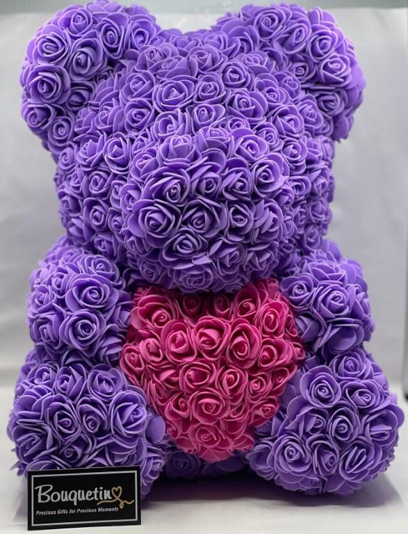 Rose Bear Big 42cm With Heart - Lavender