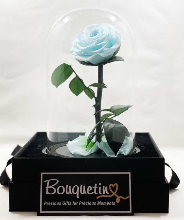 Eternity Forever Preserved Rose in a Class Dome - Blue