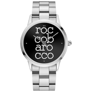 ROCCO BAROCCO SIGNATURE STEEL BLACK DIAL - SS Case Ø 36 mm - SS Solid Strap