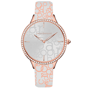 ROCCO BAROCCO IDENTITY WHITE ROSEGOLD - SS Case Ø 34 mm - Fabric and Leather Strap