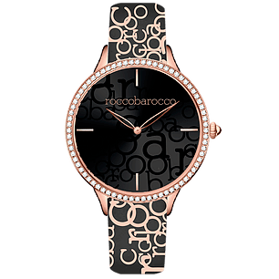 ROCCO BAROCCO IDENTITY ROSEGOLD - SS Case Ø 34 mm - Fabric and Leather Strap