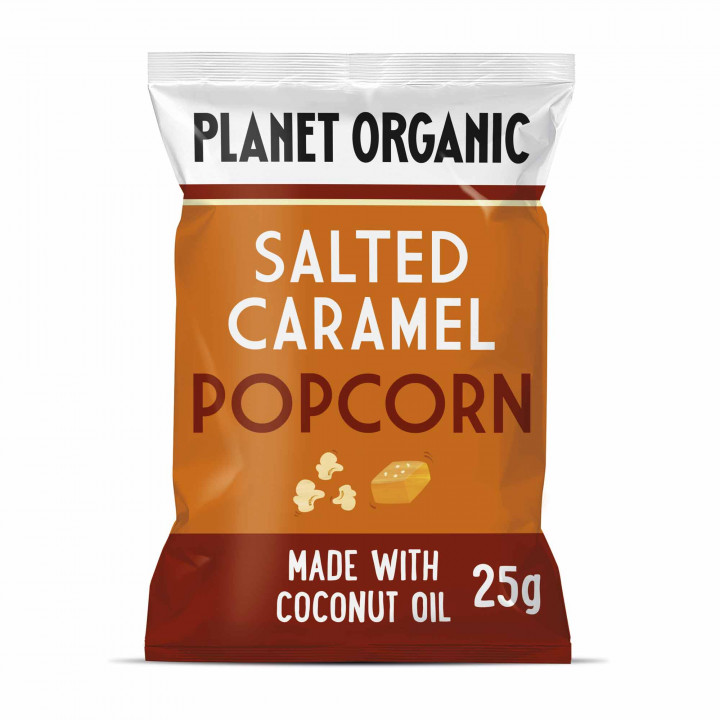 PLANET ORGANIC SALTED CARAMEL POP CORN 20G