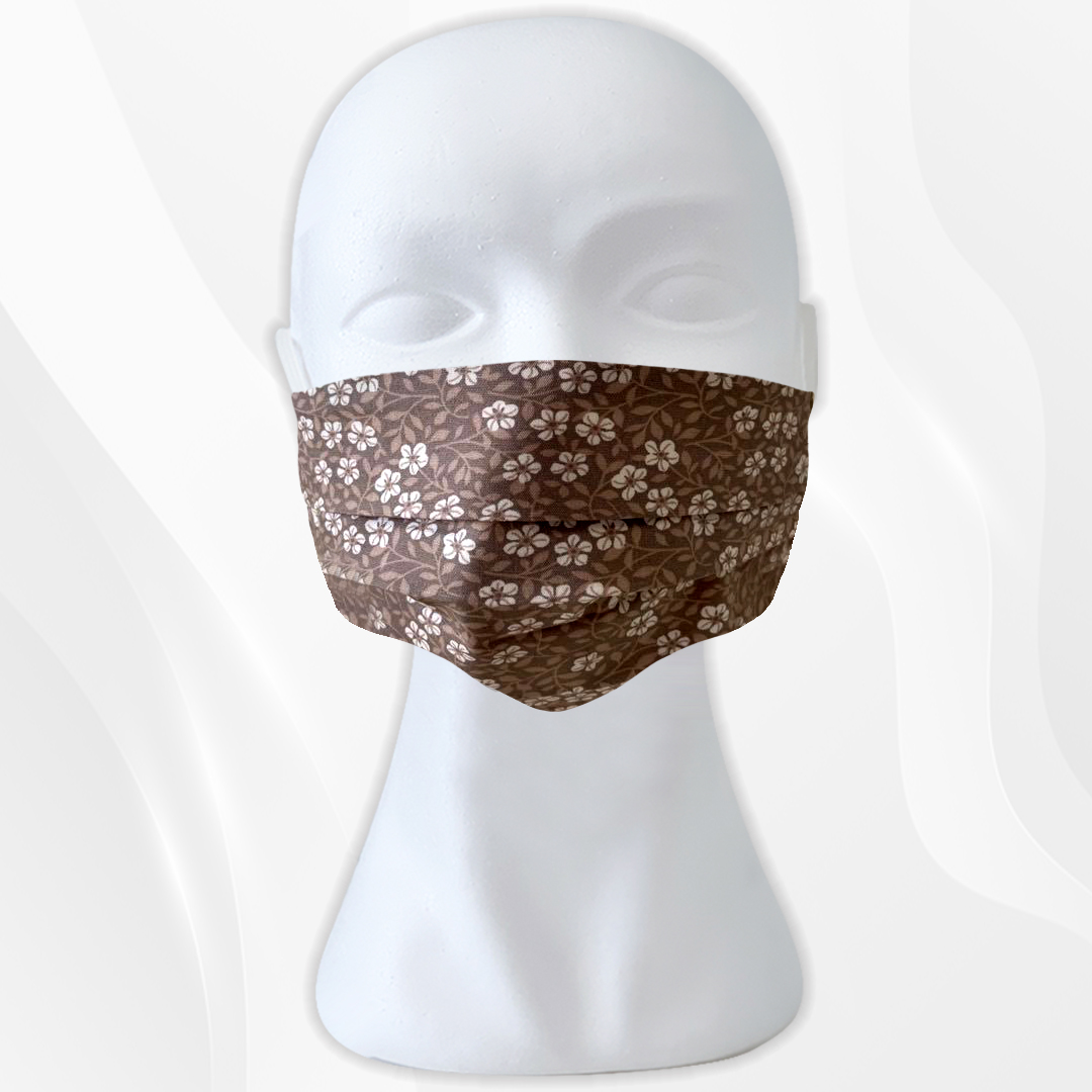 Cloth Face Masks For Adults - 17,5 x 10cm and expandable - Beige Flower
