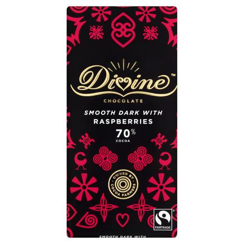 DIVINE - SMOOTH DARK WITH RASBERRIES 70% COCOA 90G