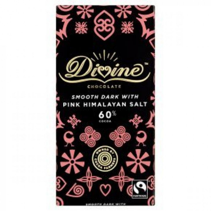 DIVINE - SMOOTH DARK WITH PINK HIMALAYAN SALT 60% COCOA 90G