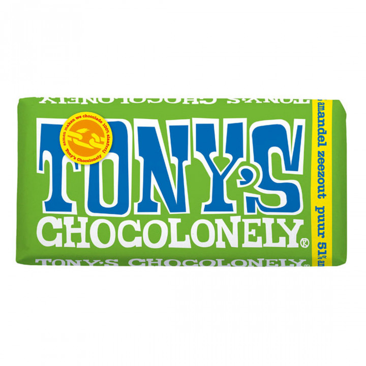 TONYS CHOCOLONELY ALMOND SEA SALT 180G