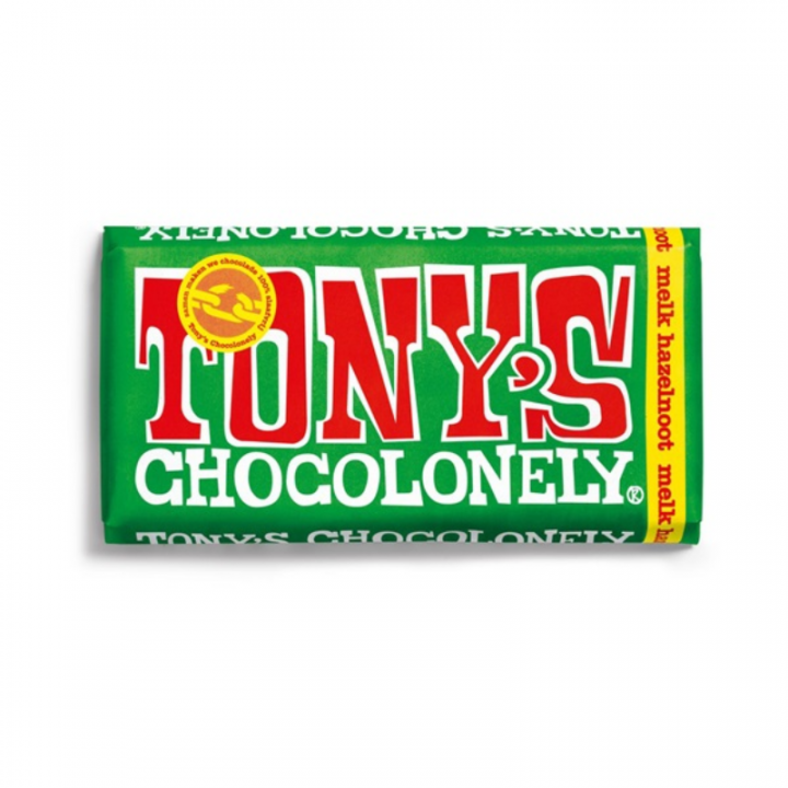 TONYS CHOCOLONELY MILK CHOC. HAZELNUT 180G