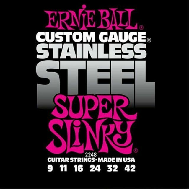 ERNIE BALL STAINLESS STEEL ELECTRIC GUITAR STRINGS 09-42(12)
