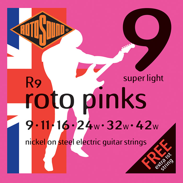 ROTOSOUND NICKEL WOUND ELECTRIC GUITAR STRINGS, ROTO PINKS 9-42