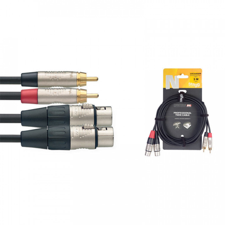 STAGG CABLE 3M TWIN MALE RCA PHONO XLR CABLE