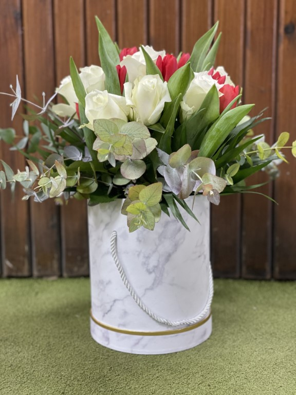 White roses with Red Tulipsnand Eucalyptus, in a Paper Box