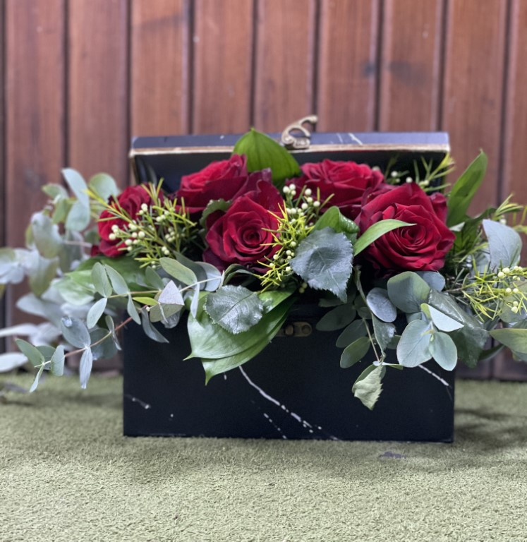 Red roses with Greens, in a Paper Box