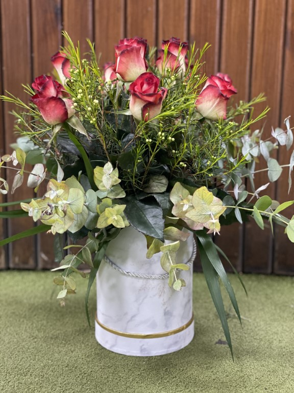 Roses With Greens in a Paper Box