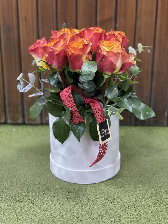 Orange Roses with Greens and Eucalyptus in a Paper Box