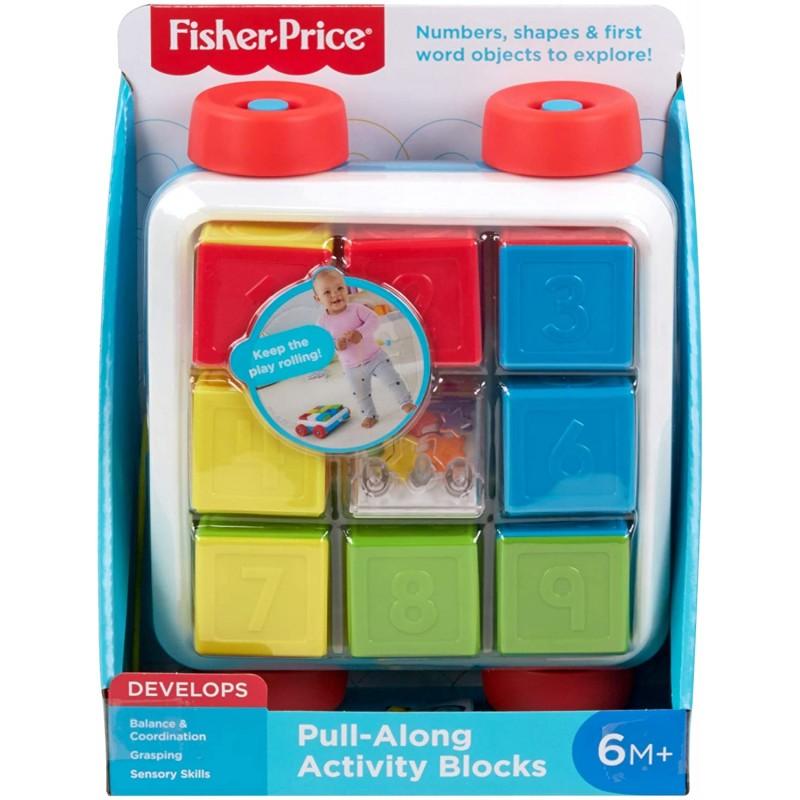 Fisher-Price Συρόμενο Βαγονάκι Με Τουβλάκια Blocks MTGJW10