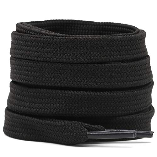 Cotton flat laces (75cm (1 pair) for 4-5 holes) - Black