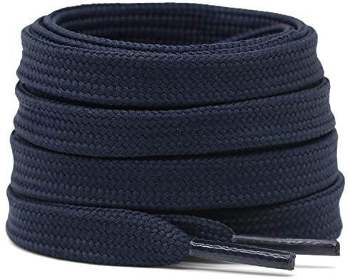 Cotton flat laces (90cm (1 pair) for 5-6 holes) - Navy blue