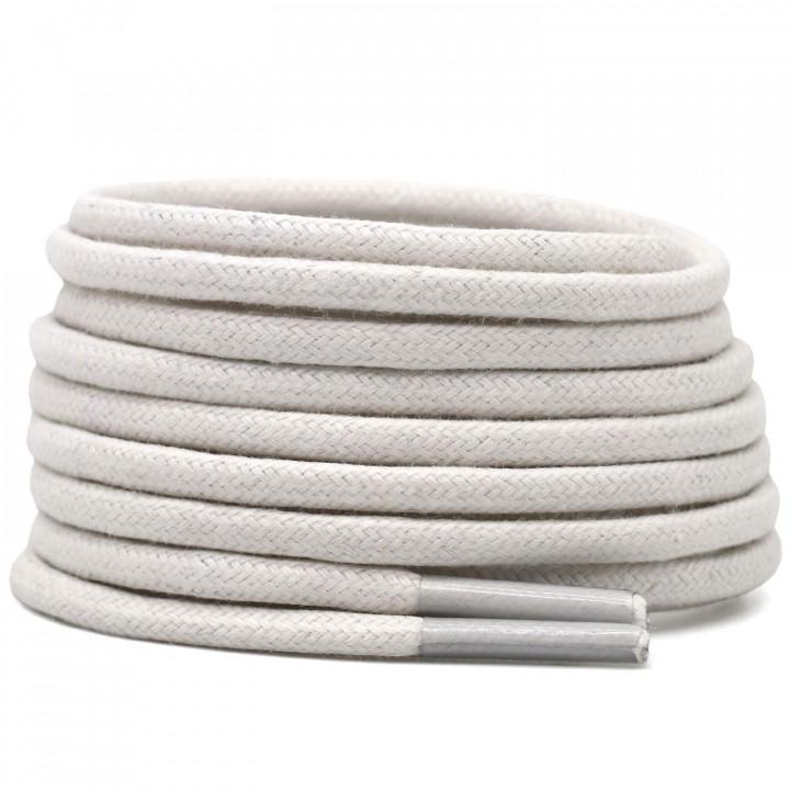 Cotton round laces (120cm (1 pair) for 6-7 holes) - White