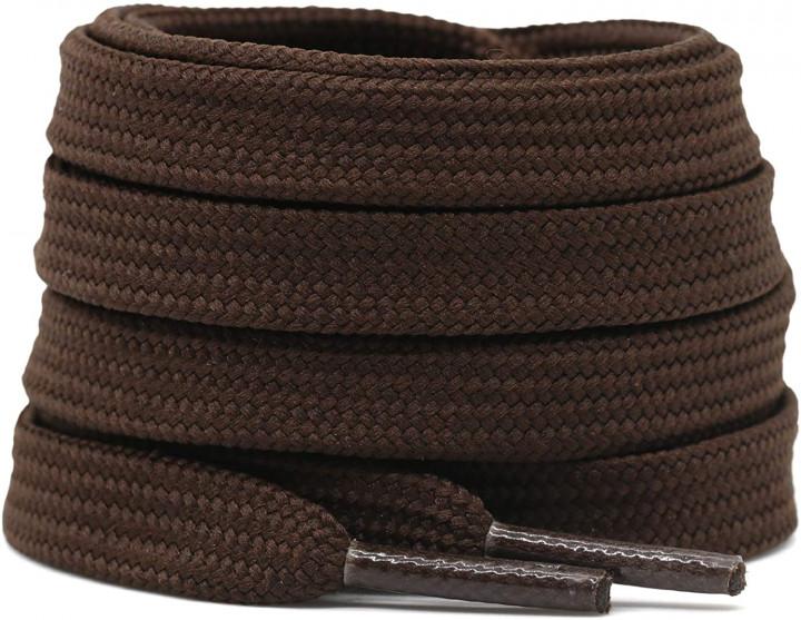 Cotton flat laces (120cm (1 pair) for 6-7 holes) - Dark brown
