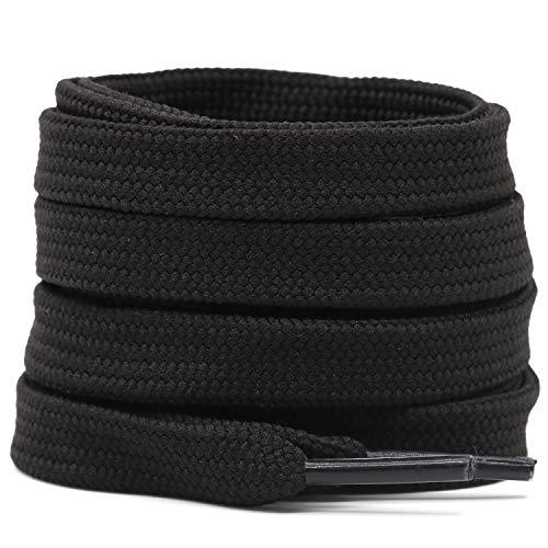 Cotton flat laces (180cm (1 pair) for 8-9 holes) - Black