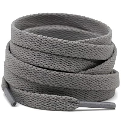 Cotton flat laces (120cm (1 pair) for 6-7 holes) - Grey