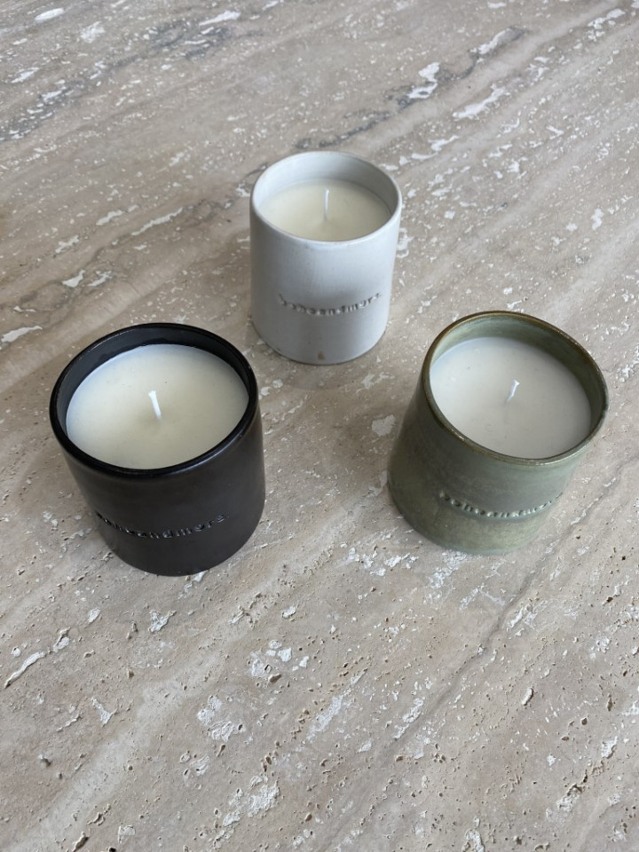 ceramic candle White - large (9.5cm H X 8.5cm D)