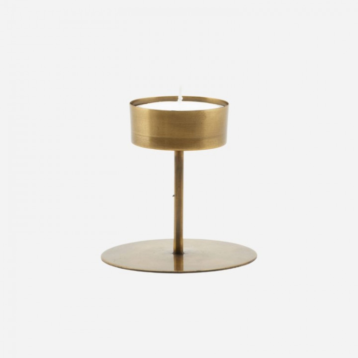 antique brass candle stand in bronze-gold - 10 H X 10,5 D
