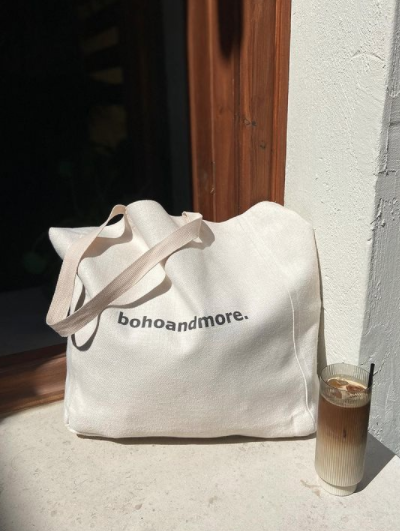 bohoandmore canva bag in white-beige - 37 H X 33 W