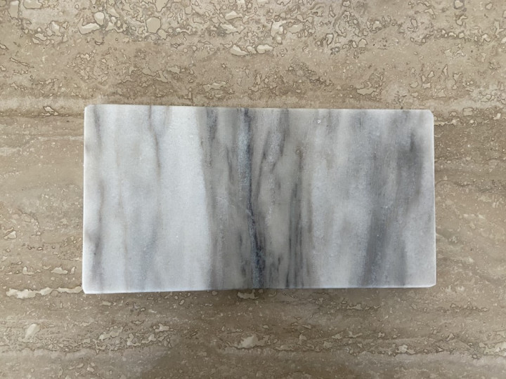 bohoandmore rectangle marble tray in shades of grey, white and beige - 25cm L X 13cm W