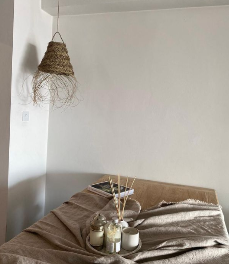 LAMP SHADE WOOVEN PALMLEAFS FRINGE  beige brown - 65H X 30H