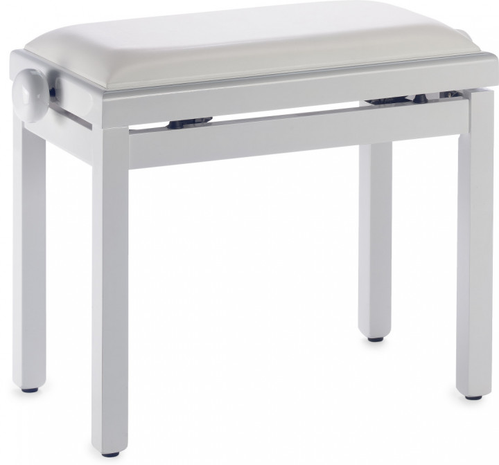Stagg Highgloss white piano bench with white vinyl top