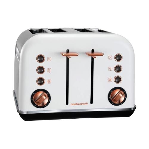 Morphy Richards 242106 4-Slice Toaster, White and Rosegold