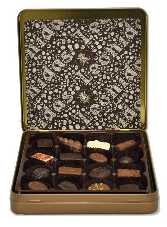 Golden Metal Box with Pralines Small